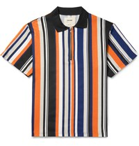 Noon Goons Striped Cotton Jersey Half Zip Polo Shirt Orange