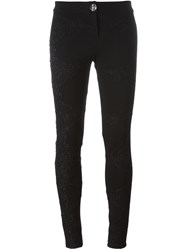 Philipp Plein Floral Embroidered Skinny Jeans Black