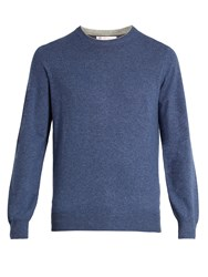 Brunello Cucinelli Crew Neck Wool Blend Sweater Blue