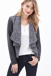Forever 21 Faux Leather Sleeve Marled Jacket