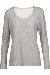 Majestic Marled Stretch Cotton And Cashmere Blend Top Light Gray
