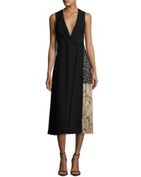 Jason Wu Fringed Faux Wrap Dress W Chiffon Panel Black
