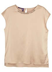 Laurel Blush Crystal Embellished Satin Top Gold