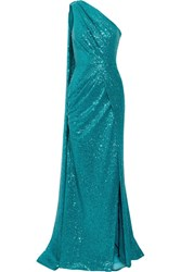 Elie Saab One Shoulder Cutout Sequined Tulle Gown Teal