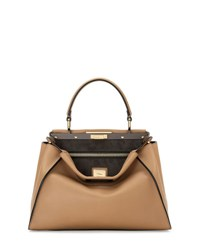 Fendi Peekaboo Regular Leather Satchel Bag Brown