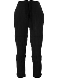 Lost And Found Creased Cropped Trousers Black