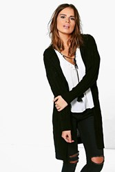 Boohoo Cable Knit Hooded Cardigan Black