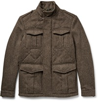 Etro Quilted Herringbone Wool Tweed Field Jacket Brown