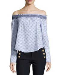 Derek Lam Off The Shoulder Boxy Polka Dot Top Oxford Blue Pattern
