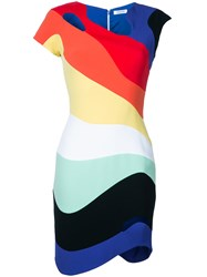 Thierry Mugler Rainbow Wave Blue Bodycon Dress Women Polyester Acetate Viscose 38