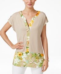 Ny Collection Floral Print Colorblocked Top Sesame