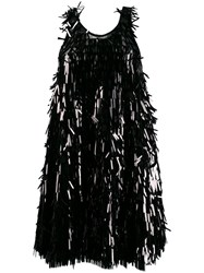 Norma Kamali Sequin Fringe Dress Black