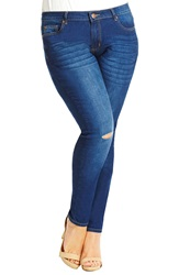City Chic 'Ripped Knee' Distressed Stretch Skinny Jeans Mid Denim Plus Size