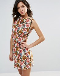 Pussycat London Floral Skater Dress Brown