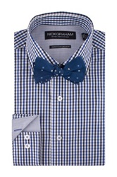 Nick Graham Navy Gingham Print Modern Fit Dress Shirt And Dotted Bow Tie Set Blue
