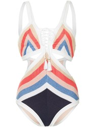 Suboo Panama Knitted Lace Front Swimsuit Multicolour