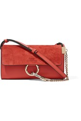 Chloe Faye Mini Leather And Suede Shoulder Bag Tomato Red
