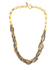 Diane Von Furstenberg Holiday Pave Two Tone Mixed Chain Necklace