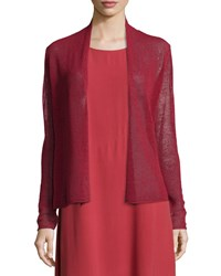 Eileen Fisher Long Sleeve Mesh Cardigan Red Saffron
