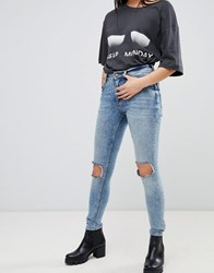 Cheap Monday Mid Skin Ripped Knee Jeans Shift Blue