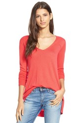 Women's Splendid V Neck High Low Sweater Blaze