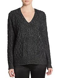 Derek Lam Cable Knit V Neck Sweater Black