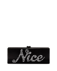 Edie Parker Naughty And Nice Flavia Clutch Bag Obsidian Sand
