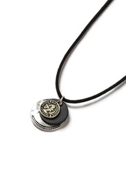 Topman Silver Black Fabric Coin Cluster Necklace
