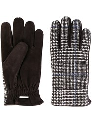 Lardini Plaid Fitted Gloves Cotton Leather Polyamide Cashmere M Brown