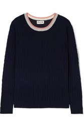 Paul And Joe La Belette Striped Cable Knit Cashmere Sweater Navy
