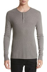 John Varvatos Collection Waffle Knit Silk And Cashmere Henley Sweater