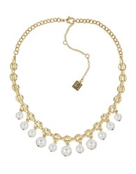 Laundry By Shelli Segal Faux Pearl Choker Necklace White