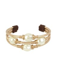 Robert Lee Morris Exclusive Pearl Faux Pearl And Leather Wire Wrap Cuff Bracelet