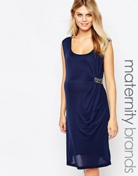 Mama Licious Mamalicious Ruched Front Dress With Embellishment Navy