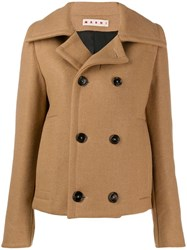 Marni Cropped Double Breasted Coat Brown
