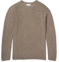 John Elliott Panelled Open Knit Cotton Blend Sweater Beige