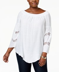 Ny Collection Plus Size Lace Trim Peasant Top White Truce