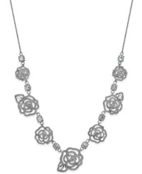 Kate Spade New York Silver Tone Crystal Flower Necklace Clear Silver