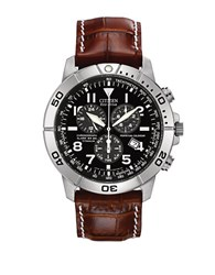 Citizen Perpetual Calendar Chronograph Eco Drive Titanium And Leather Watch Brown