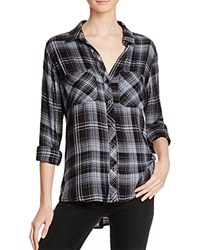 Bella Dahl Two Pocket Plaid Button Down Shirt Blue Night