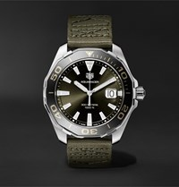 Tag Heuer Aquaracer Limited Edition Quartz 43Mm Steel And Webbing Watch Ref. No. Way101e.Fc8222 Green