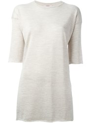 Liska Long Knit T Shirt Nude And Neutrals