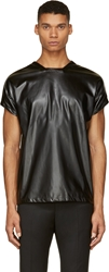 Rad By Rad Hourani Black Faux Leather Unisex T Shirt