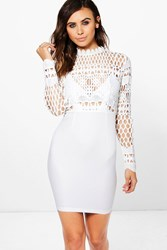 Boohoo Alivia Crochet Lace Top Bodycon Dress Ivory