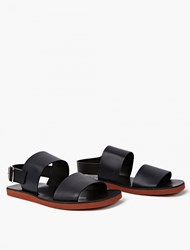 Marni Black And Navy Leather Sandals Blue