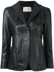 L'autre Chose Leather Blazer Women Cotton Leather 40 Black
