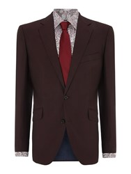 New And Lingwood Dowsby Panama Notch Lapel Tonic Suit Jacket Claret