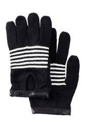 Vince Camuto Short Striped Gloves Black