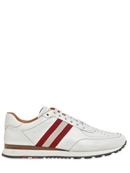 Bally Striped Webbing Leather Sneakers