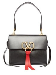 Valentino V Ring Leather Shoulder Bag Black